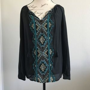 Lucky Brand Top Black Boho Peasant Size Small